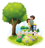A father and his daughter near the wooden fence and the giant tr — Stock Vector