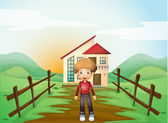 A boy in front of the concrete house in the hilltop — Stock Vector