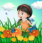 A girl in the garden with butterflies — Stock Vector
