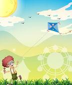 Ein junge spielt mit seinem kite — Stockvektor