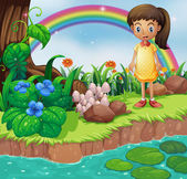 A small girl at the riverbank with mushrooms — Stock Vector