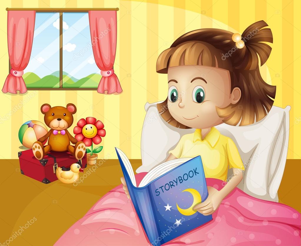 Una peque a ni a leyendo un libro de cuentos dentro de su - Dibujos para habitacion nina ...