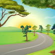 A long winding road at the forest — Stock Vector