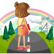 A young girl standing in the middle of the street — Stock Vector