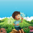 A boy thinking while sitting above a stump — Stock Vector #30283575