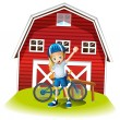 A female biker standing in front of the red barnhouse — Stock Vector