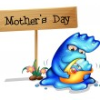 A mother monster with her daughter near a signboard — Stock Vector