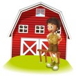 A boy standing in front of the red barnhouse — Stock Vector