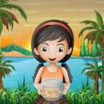 A girl holding an aquarium — Stock Vector