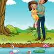 Stock Vector: A young girl and her father at the riverbank