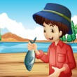 A fisherman holding a fish — Stock Vector