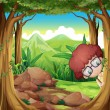 A boy hiding at the forest — Stock Vector