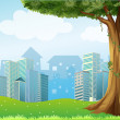 A giant tree with vine plants across the high buildings — Stock Vector