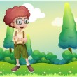 Stock Vector: Curly boy standing at hilltop