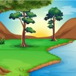 A river at the forest — Stock Vector #30284103