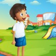 A boy at the school playground — Stock Vector