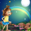A kid amazed by the sight of the rainbow and the fullmoon — Imagens vectoriais em stock