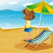 A girl at the beach with a foldable chair and an umbrella — Stock Vector