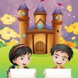Two kids with empty signages standing in front of the castle — Stock Vector #30284769