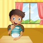 un garçon de manger des céréales à l'intérieur de la maison — Vecteur