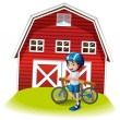 A boy with a bike standing in front of the farmhouse — Stock Vector