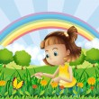 A girl at the garden with a rainbow at the back — Imagen vectorial