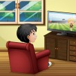 A young boy watching TV at the living room — Stock Vector