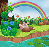 A riverbank with flowers and a rainbow — Stock Vector