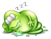 A greenslime monster sleeping — Stock Vector