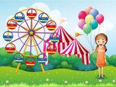 A happy young girl holding balloons near the carnival — Stock Vector