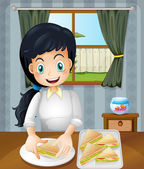 A happy mother preparing sandwiches — Stock Vector