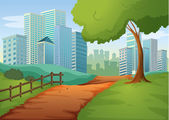 A pathway going to the tall buildings — Stock Vector
