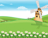 A farmhouse above the hills with a windmill — Stock Vector