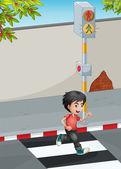 Um menino correndo ao atravessar a rua — Vetorial Stock