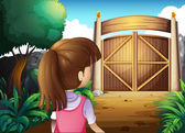 A young girl with a pink shirt going to the gate — Stock Vector
