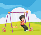A boy swinging alone — Stock Vector