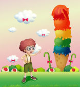 A young gentleman standing near the giant icecream — Stock Vector