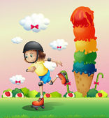A girl rollerskating at the candyland — Stock Vector