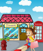 Een meisje in de buurt van de flowershop holding een tas en een geschenk — Stockvector