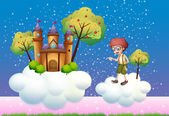 Clouds with a boy and a castle — Stock Vector