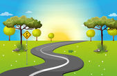 A long and winding road at the forest — Stock Vector