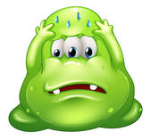 A sad greenslime monster — Stock Vector