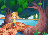 A girl at the bridge near the giant trees — Stock Vector
