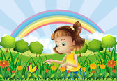 A girl at the garden with a rainbow at the back — Stock Vector