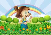 Uma jovem de jardinagem — Vetorial Stock
