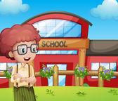 Chlapec s školní budovy na zádech — Stock vektor