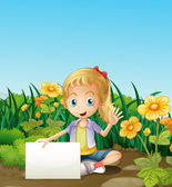 A young girl sitting at the garden with an empty signage — Stock Vector