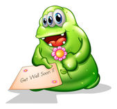 A greenslime monster holding a signage — Stock Vector