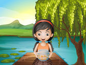 A girl with an aquarium standing at the riverbank — Stock Vector