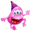 Pink beanie monster celebrating — Vector de stock #30987655
